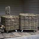 Square Rattan Log Basket With Wheels