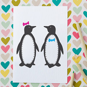 Penguin Pairs Cards - wedding cards