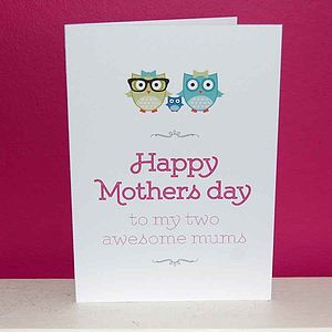 'My Two Awesome Mums' Card - mother's day cards