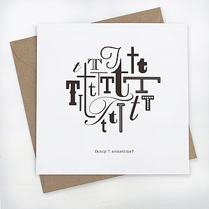 Fancy T Typographic Greeting Card - last-minute gifts