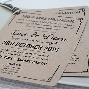 Gatsby Style Wedding Evening Invitation - parties