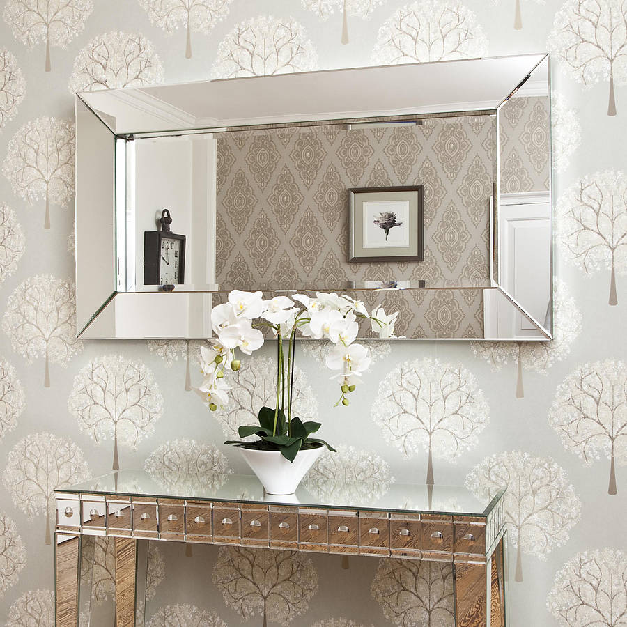 Deep Large All Glass Framed Wall Mirror By Decorative