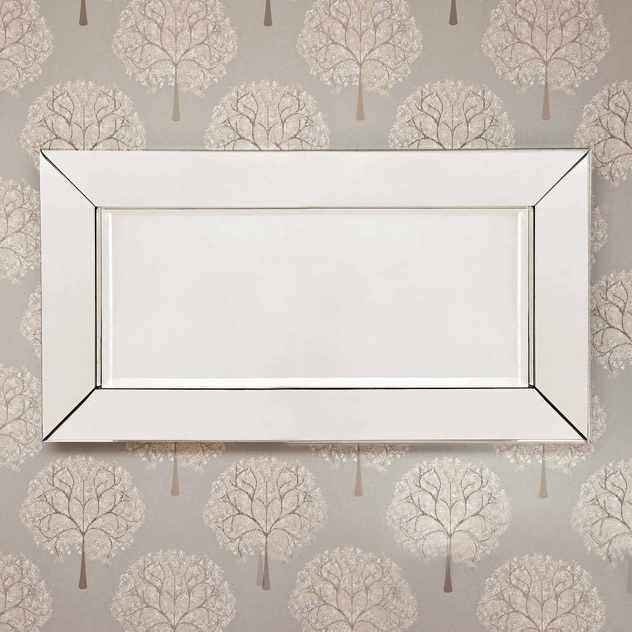 Deep large all glass framed wall mirror by decorative for Large glass wall