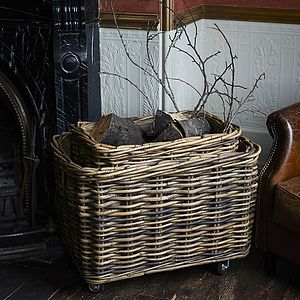 Rectangular Rattan Log Basket With Wheels - living room