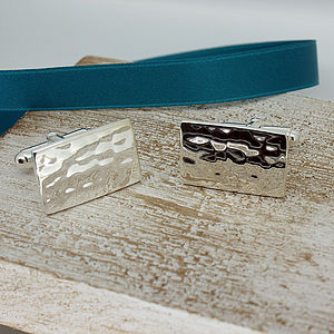 Rectangular Hammered Silver Cufflinks