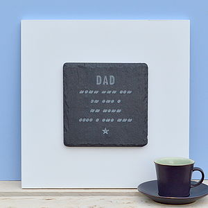 Engraved Morse Code Wall Art For Dad