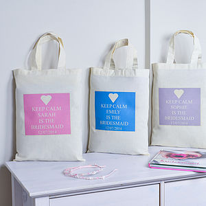 Personalised Keep Calm 'Bridesmaid' Bag - hen party gifts & styling
