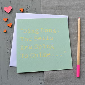 'Bells Are Going To Chime' Wedding Card
