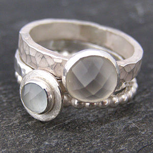 Moonstone And Aquamarine Stacking Rings - gemstones