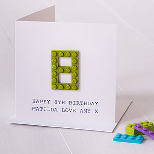 Personalised Building Block Age Birthday Card - personalised