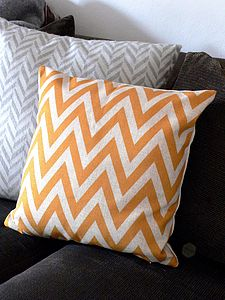 Chevron Cushion In Linen - try the trend: yellow and grey