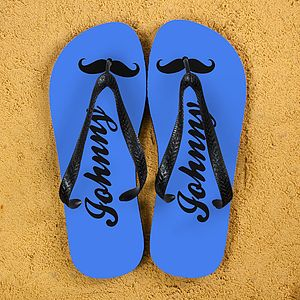 Moustache Style Personalised Flip Flops - women's