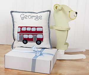 Personalised London Bus Cushion - children's room