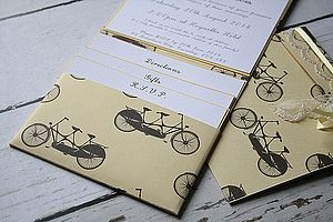 Tandem Bike Pocket Fold Wedding Invitation