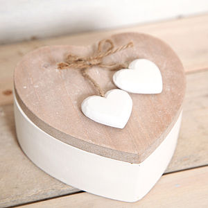 Wooden Heart Shaped Trinket Box