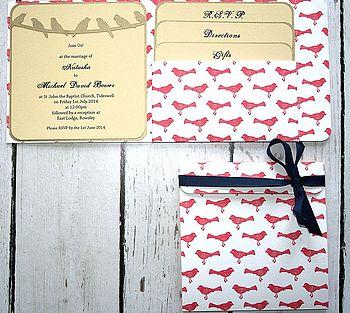 Birds Pocket Fold Wedding Invitation