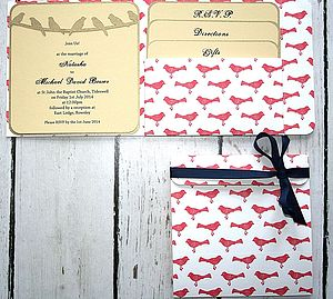 Birds Pocket Fold Wedding Invitation - wedding stationery