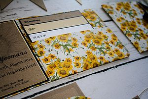 Vintage Inspired Sunflower Pocket Fold Invite - wedding stationery