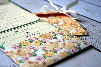 Vintage Inspired Flower Pocket Fold Invite