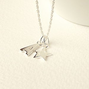 Sterling Silver Star And Initial Necklace - for children