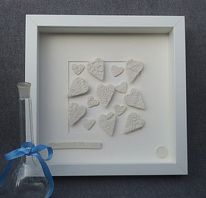 Framed White Porcelain Hearts