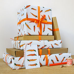 Carrot Wrapping Paper Set - ribbon & wrap