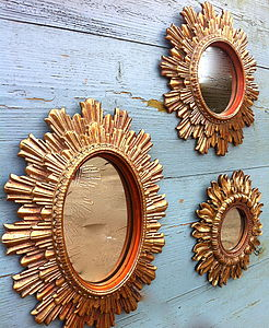 Set Of Three Small Gilt Mirrors - bedroom