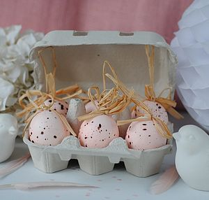 Six Pastel Pink Speckled Easter Eggs