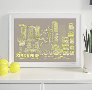 Singapore Skyline Typography Print