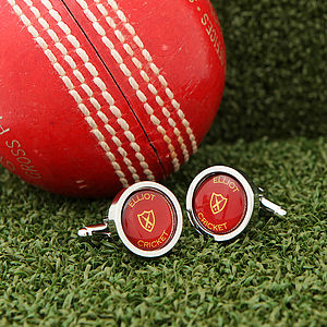 Personalised Cricket Ball Cufflinks - cufflinks