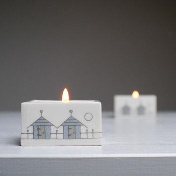 Beach Huts Ceramic Tealight Holder