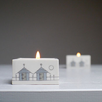 Beach Huts Ceramic Tealight Holder