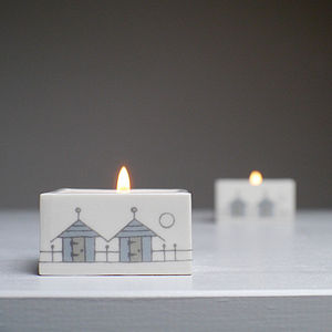 Beach Huts Ceramic Tealight Holder - votives & tea light holders