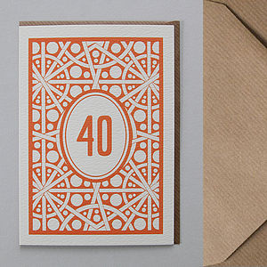 '40' Age Greetings Card - special age birthday cards