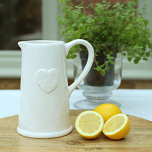 Large Cream Heart Jug - gifts for the home