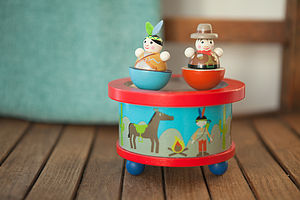 Cowboy And Indian Wooden Music Box