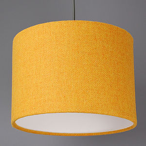 Bright Mustard Yellow Harris Tweed Lampshade - office & study