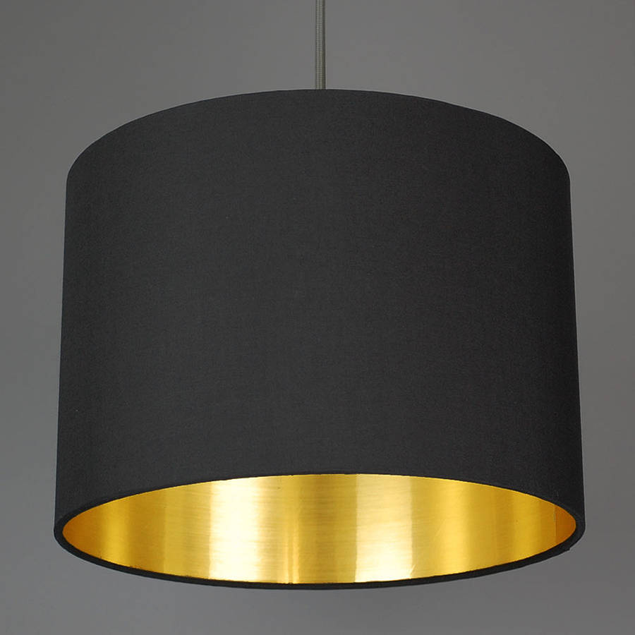 brushed gold lined lamp shade choice of colours by quirk. Black Bedroom Furniture Sets. Home Design Ideas