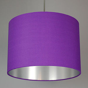 Brushed Silver Lined Lamp Shade Choice Of Colours - bedroom