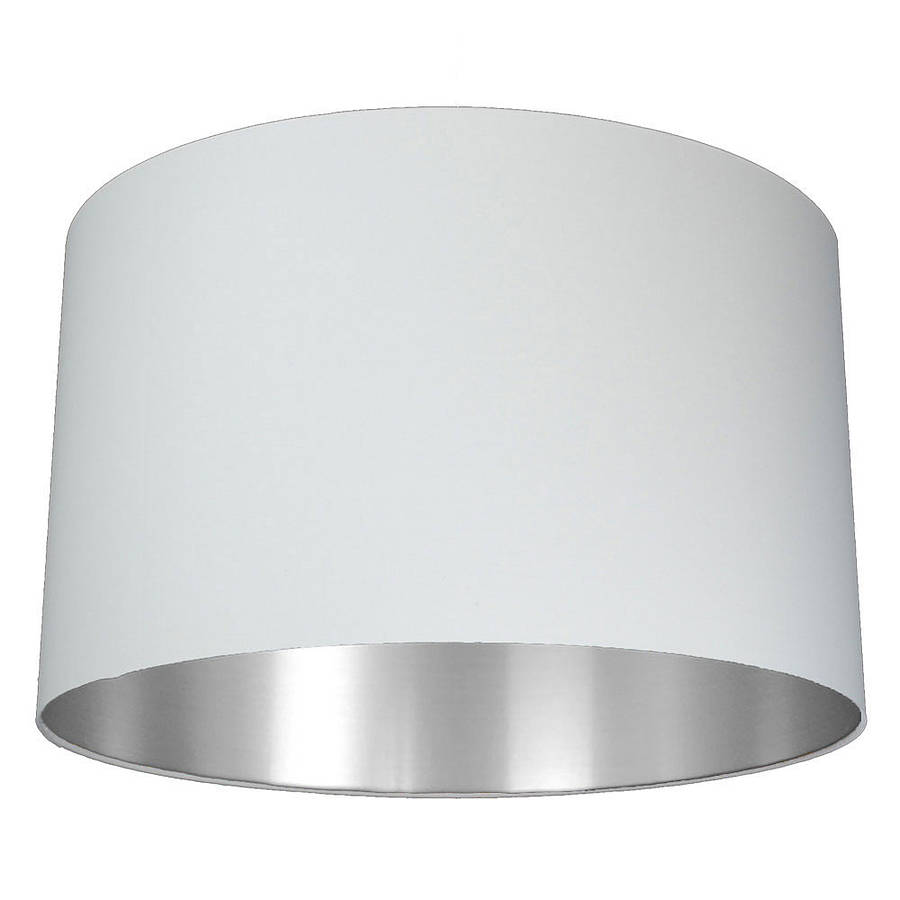 Brushed silver lined lamp shade choice of colours by quirk large deep mozeypictures Gallery