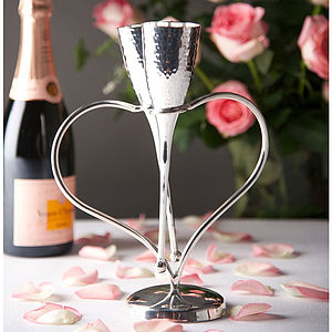 Silver Plated 'Entwined Heart' Lovers Flutes - engagement gifts