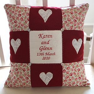 Red Linen Commemorative Cushion - 40th anniversary: ruby