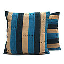 Navy Blue And Turquoise Aso Oke Cushion