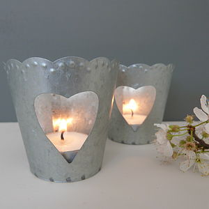 Two Metal Heart Tea Light Holders - candles & candlesticks