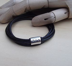 Silversmith Personalised Leather Wrap - bracelets & bangles