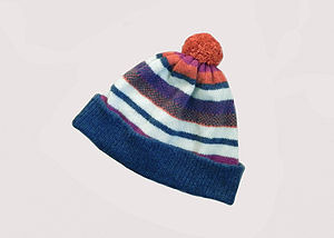 Striped Lambswool Bobble Hat