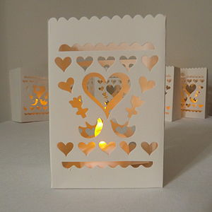 Set Of Six Paper Table Lanterns With Lights - table decorations
