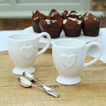 Cream Heart Latte Mug