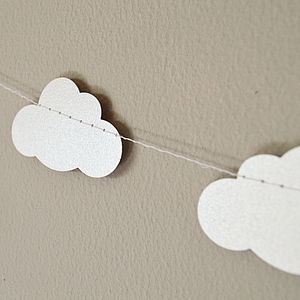 Shimmer White Clouds Paper Garland - bunting & garlands