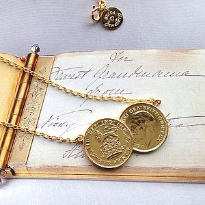 Double Sixpence Coin Necklace - birthday gifts